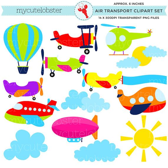 Air Transport Clipart Set - clip art set of air transport