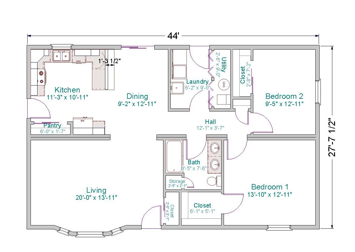 ^ Simple Small House Floor Plans his ranch home has 1,120 square ...