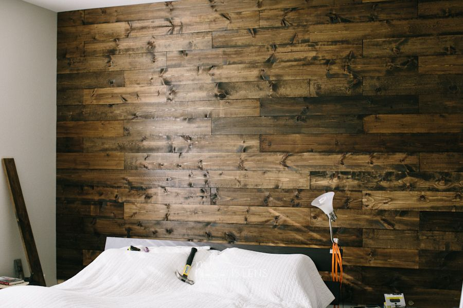 diy wooden bedroom accent wall i love this and plan to make it temporary if we decide to. Black Bedroom Furniture Sets. Home Design Ideas