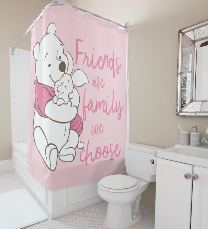 Pooh Piglet Friends Are Family We Choose Shower Curtain