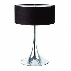 Lampe chromée abat jour noir avec diffuseur - Faro