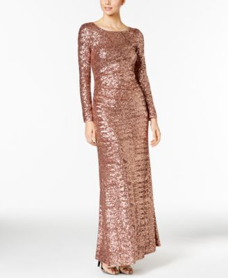 Vince Camuto Sequined Long Sleeve Gown Long Sleeve Gown