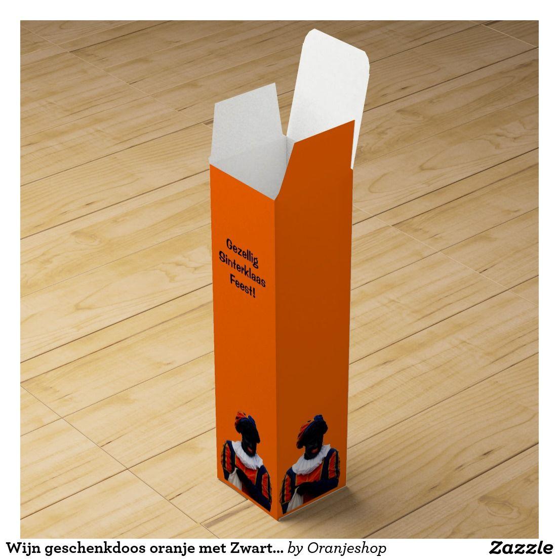 Wijn geschenkdoos oranje met Zwarte Piet Wine Gift Boxes