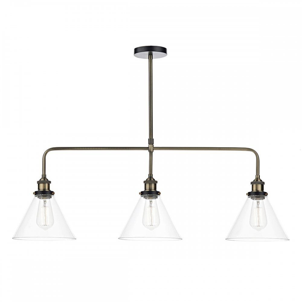 Vintage Style Kitchen Lighting Cambridge Ray Antique Brass Bar Pendant Ceiling Light With