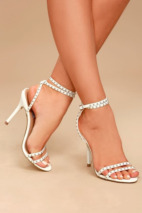fe81d25bd16 Steve Madden Wish White Leather Studded Ankle Strap Heels   Shoe ...