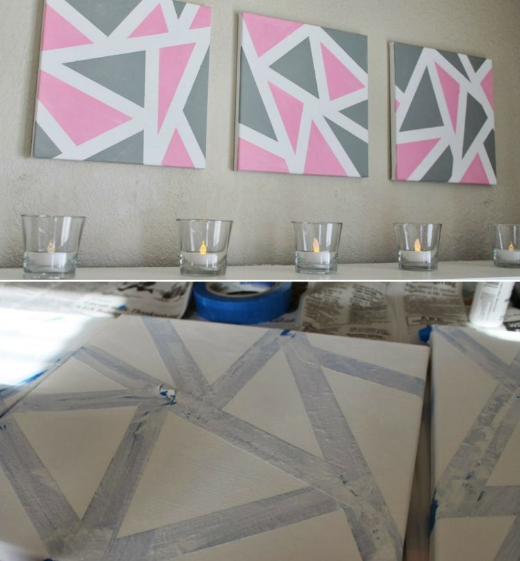 keilrahmen gestalten geometrisch motive dreiecke malen rosa grau deko pinterest keilrahmen. Black Bedroom Furniture Sets. Home Design Ideas