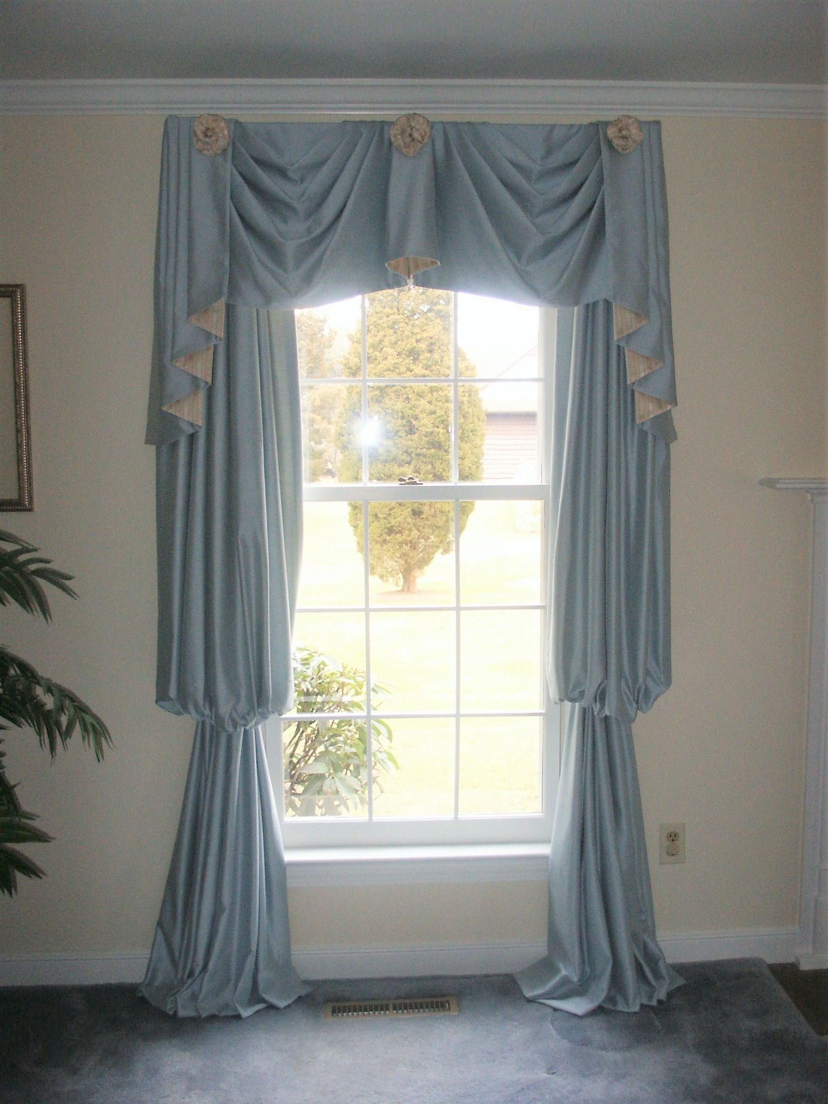 Empire Swags Jabots With Rosettes Over Bishop Sleeve Draperies