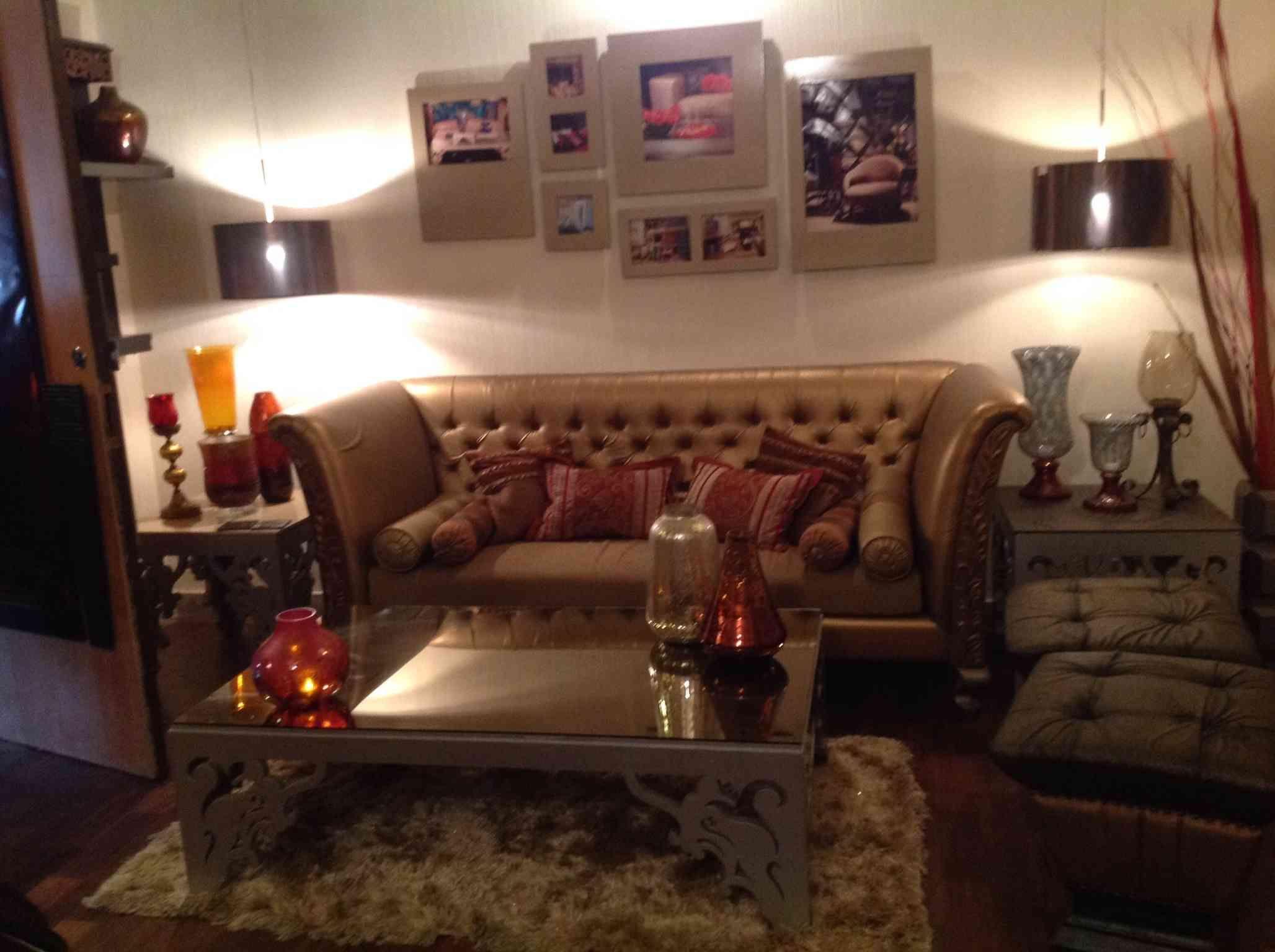 Living Room With Brown Tufted Sofa Designmadalsa Soni Impressive Indian Living Room Furniture Designs Design Inspiration