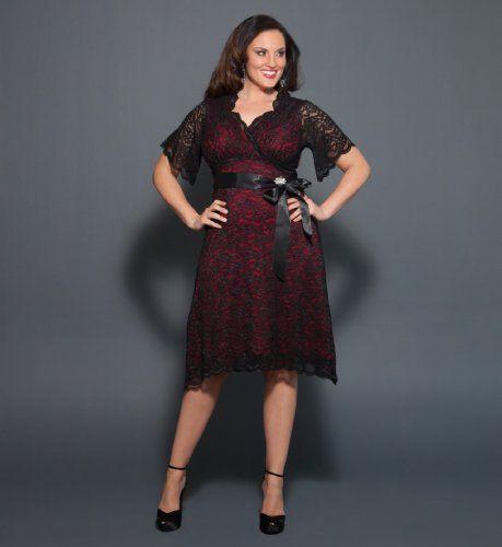 Kiyonna retro glam lace dress red