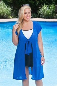 908b55bcd6b7f Always For Me Tie Front Plus Size Cover Up 1112X Royal