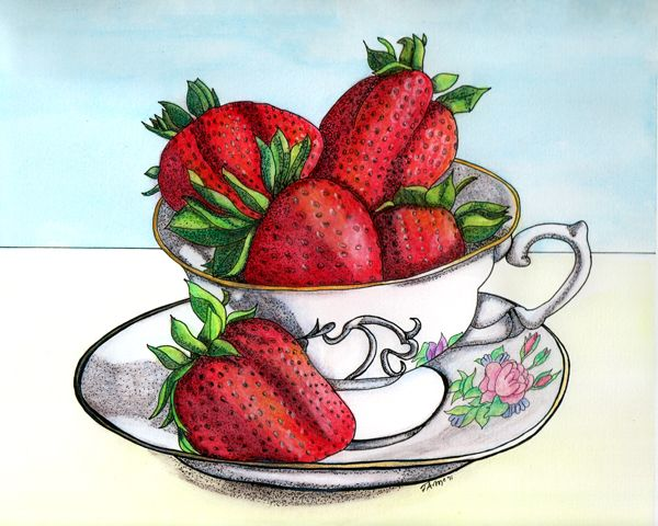 """""""Strawberry Tea"""" watercolor & ink illustration by Terry McClary"""
