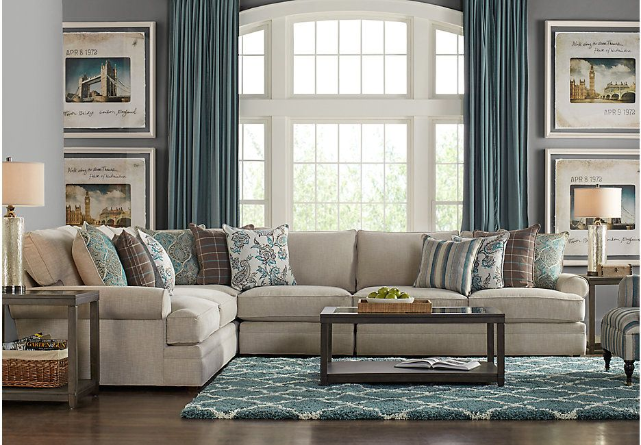 Cindy Crawford Home Lincoln Heights Stone 4 Pc Sectional