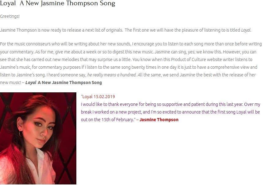 Loyal A New Jasmine Thompson Song Greetings! Jasmine