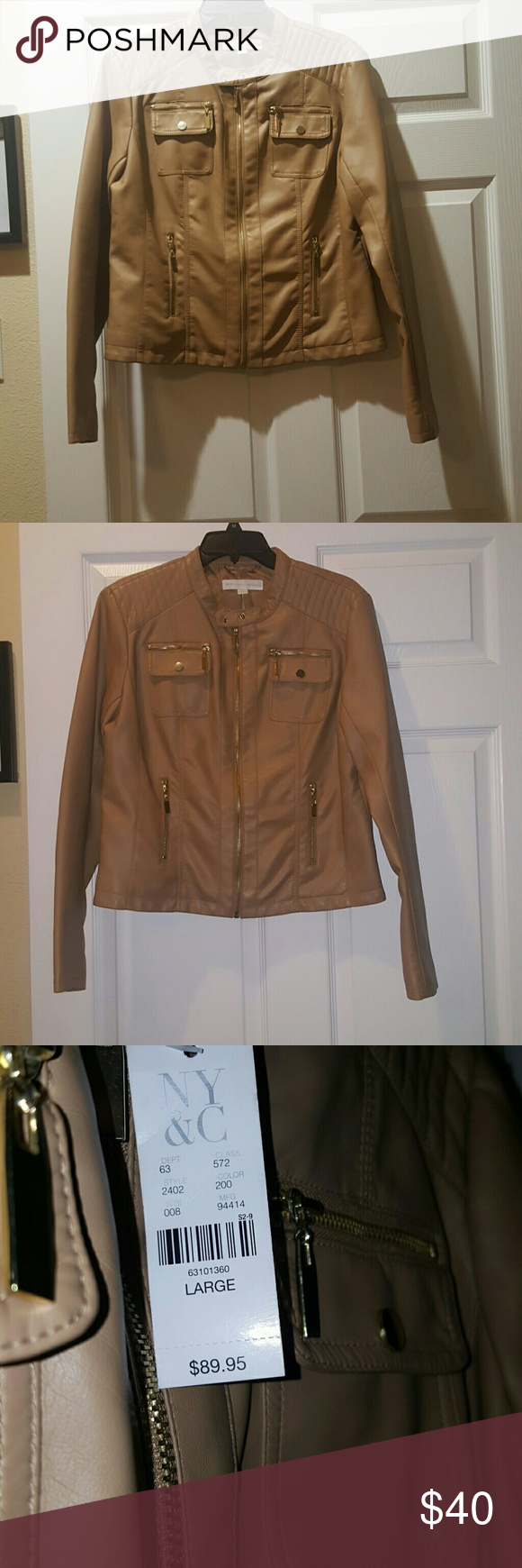 NEW Peanut butter/tan faux leather jacket Brand new,  never worn. New York & Company Jackets & Coats