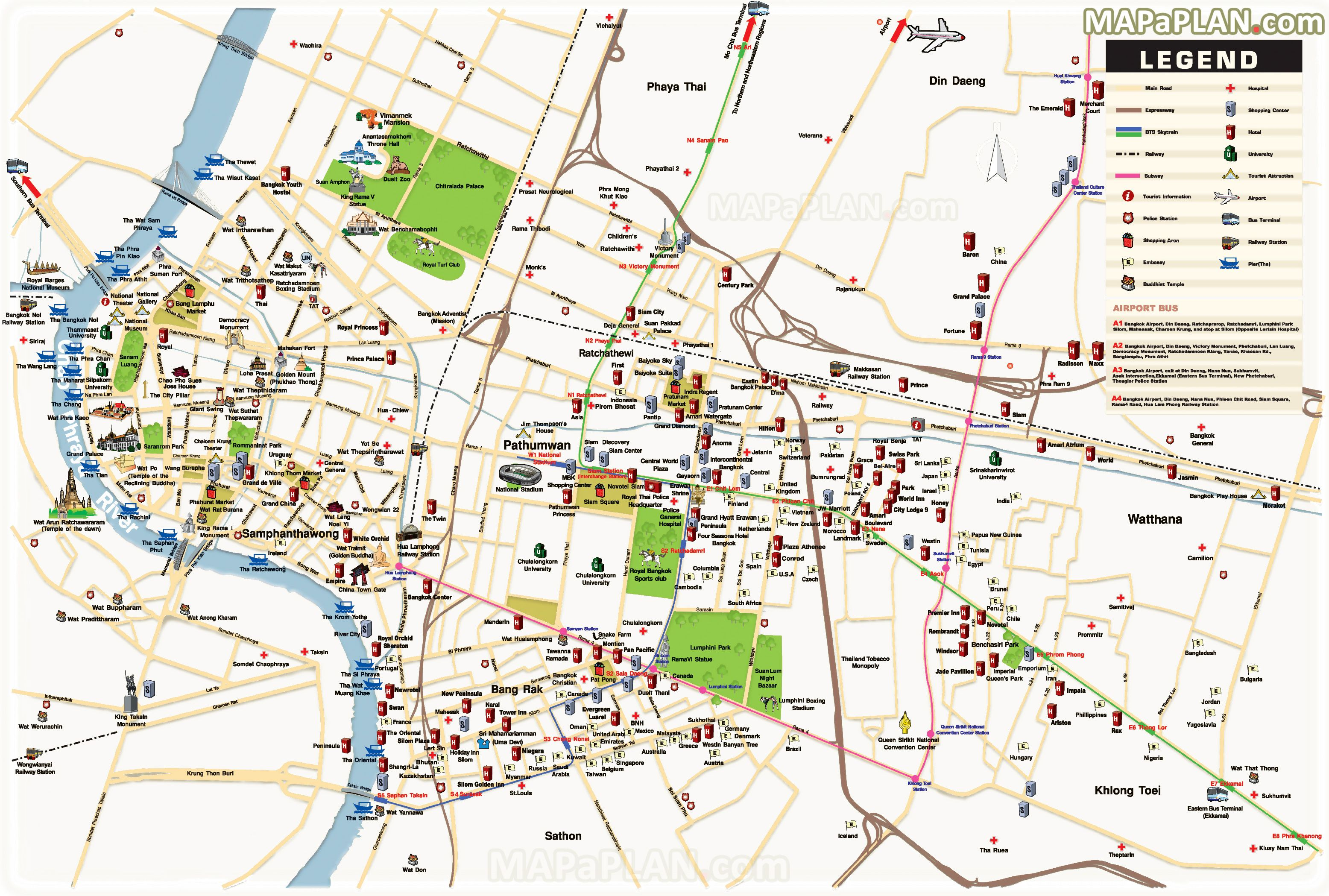 BangkoktoptouristattractionsmapDetaileddbirdseyeaerial - Map sites for directions