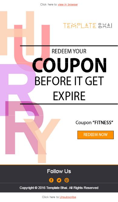 Vista Coupon Email Template, Newsletter for deals and offers - referral coupon template