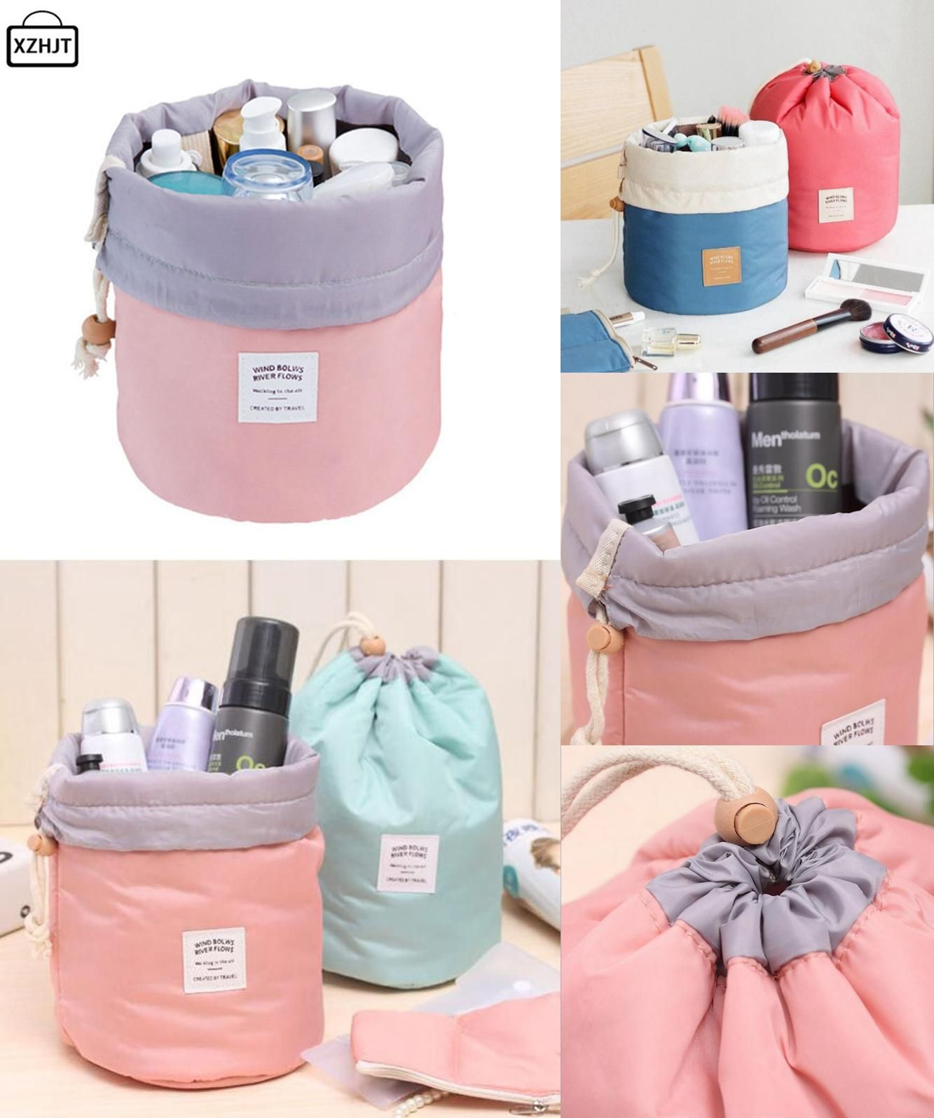 8e259b8742  Visit to Buy  XZHJT Fashion Barrel Shaped Travel Cosmetic Bag Make up Bag  Drawstring Elegant Drum Wash Kit Bags Makeup Organizer Storage Bag