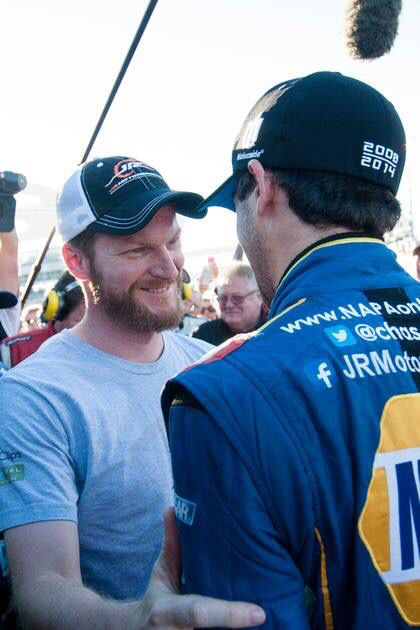 Dale Jr with Chase Elliott 2014 Nationwide Champion!