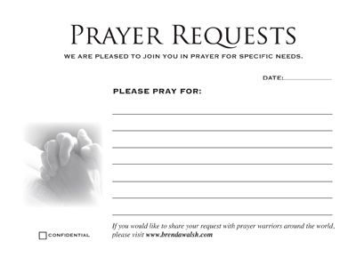 Prayer Card Printable Prayer Request Cards  Cards On   X  Sheet