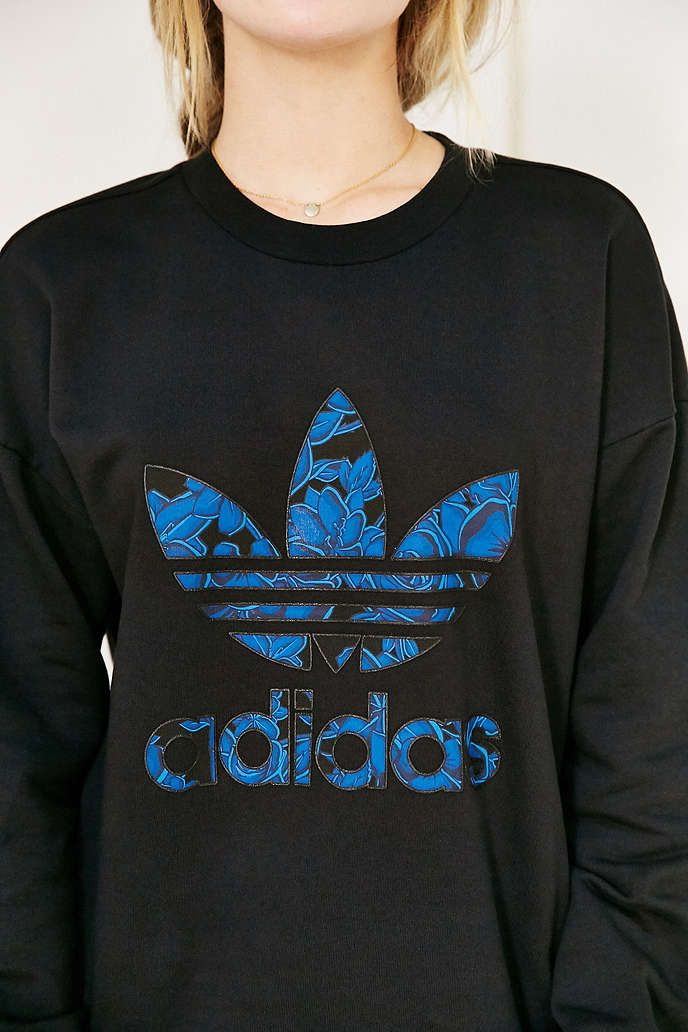 adidas Blue Floral Sweatshirt - Urban Outfitters  a2ea5936d2f2