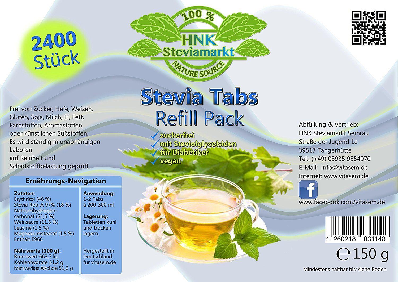 Stevia Tabs in der Refill in Dose 2400 Stk, 1er Pack (1 x 150 g ...