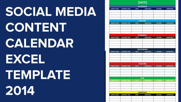 Social Media Calender Template Excel 2014 Social Media Calendar