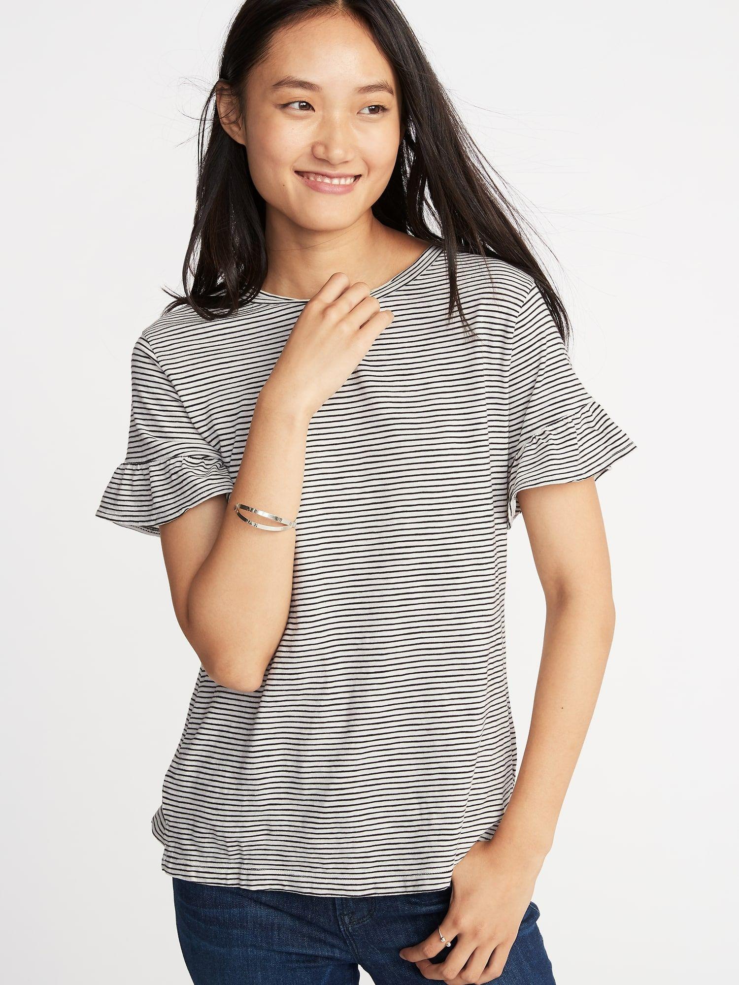 71fda56b957b53 Ruffle-Sleeve Slub-Knit Top for Women