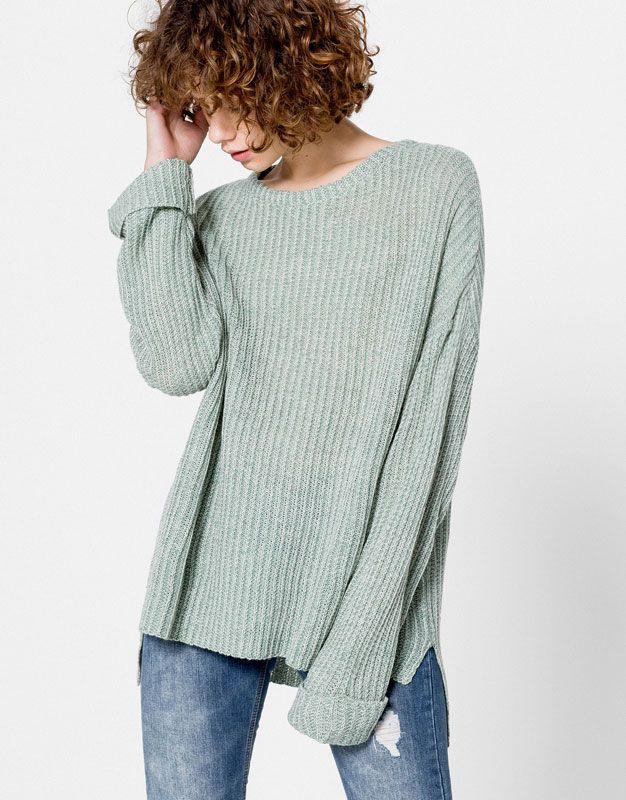 c1284a103f2 Pull&Bear - dames - vesten en truien - geribde oversized trui - del groen…