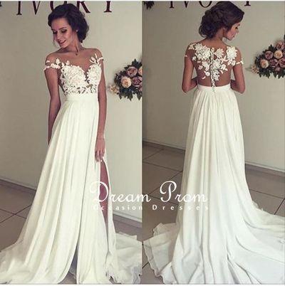 prom dresses — white lace long prom dress