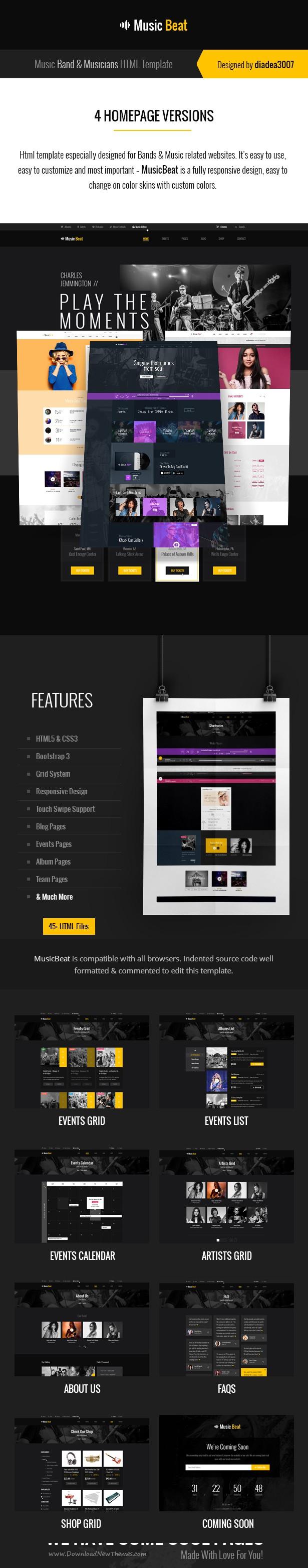 MusicBeat Musicians & DJ\'s Music Band Html Template