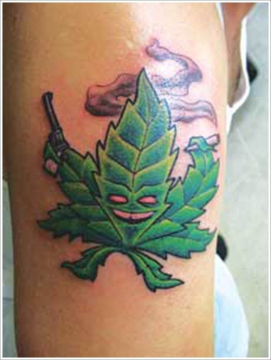 leaf tattoo designs Marijuana pot