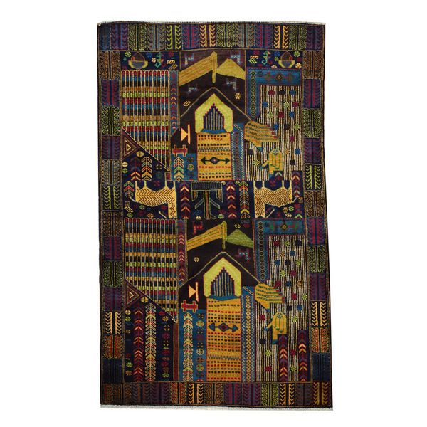 Herat Oriental Semi Antique Afghan Hand Knotted Tribal Balouchi Green Purple Wool Rug