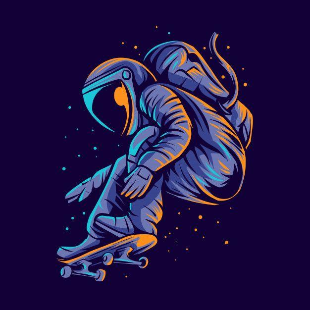 Astronaut Skateboarding Jump  Illustration
