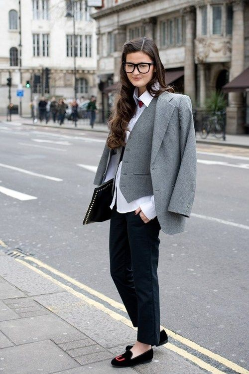 Peony Lim, blogger :wearing a Thomas Pink shirt, Alexander Wang trousers and a vintage jacket and waistcoat. Shoes are by Stubbs and Wotton and the clutch is Valentino(image:vogue)