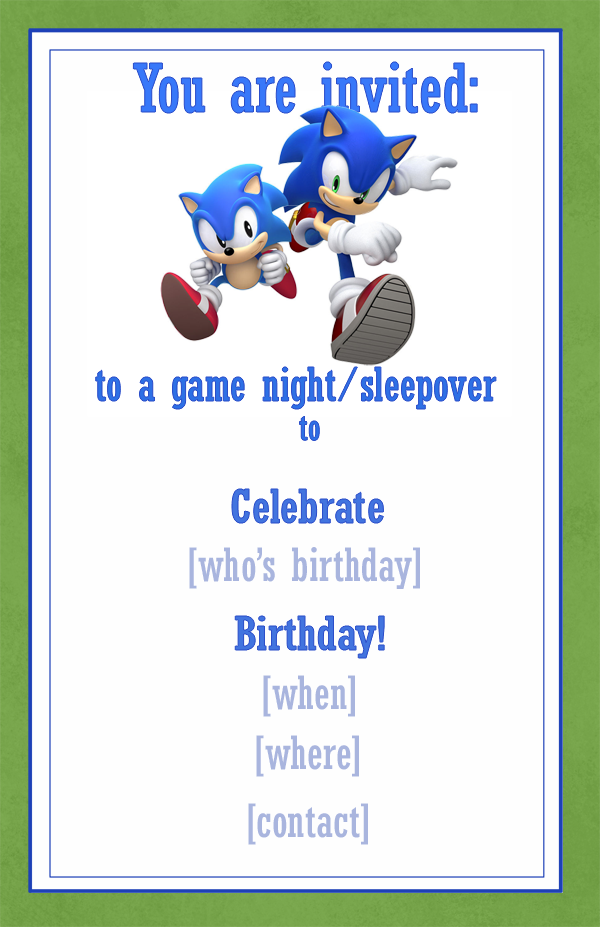 Sonic Invitation Example / Snippets of Design.com | Party ideas ...
