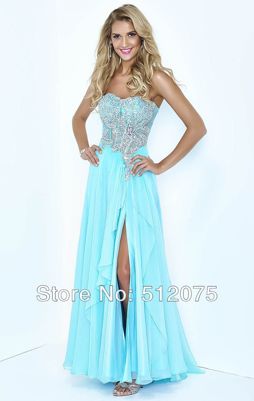 Wholesale- Landa Designs Ice Blue Prom Dresses For Woman Beads Split ...