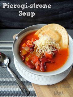 Pierogi-strone Soup via thefrugalfoodiemama.com Your favorite frozen pierogies meet homemade minestrone