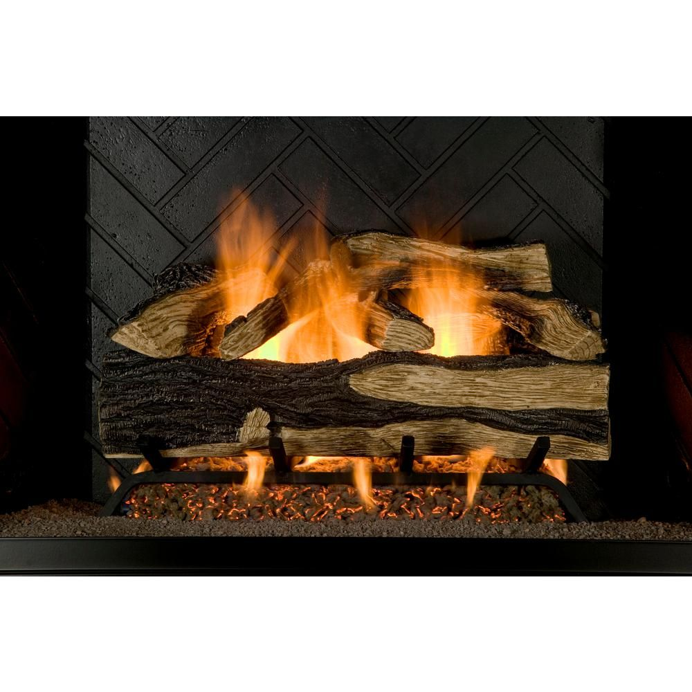 Emberglow Oakwood 22 in Vent-Free Natural Gas Fireplace Logs with Thermostatic Control
