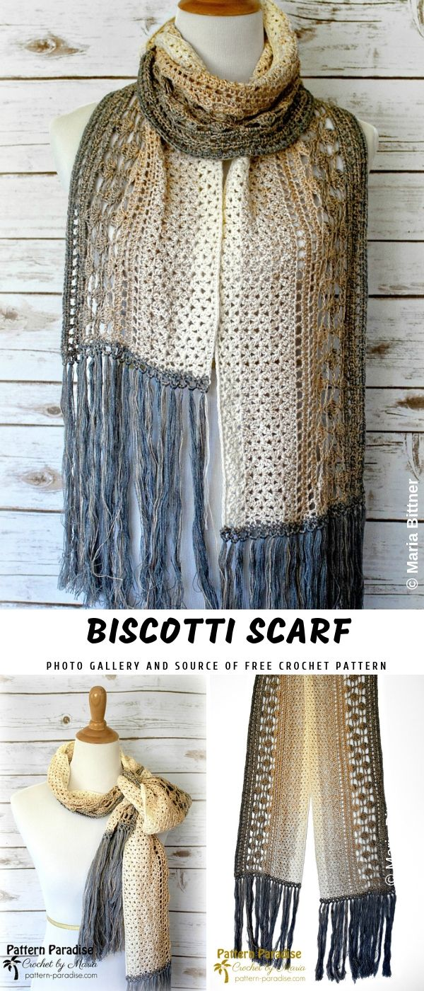 Biscotti Crochet Scarf with Free Pattern #crochetscarves