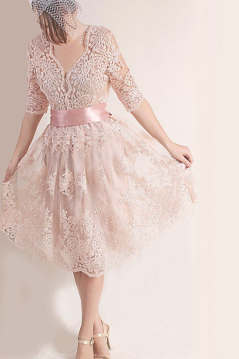 Bridesmaid Blush Pink Lace Dress Knee Length Wedding Party Etsy Short Lace Dress Lace Pink Dress Blush Wedding Dress Lace [ 1191 x 794 Pixel ]