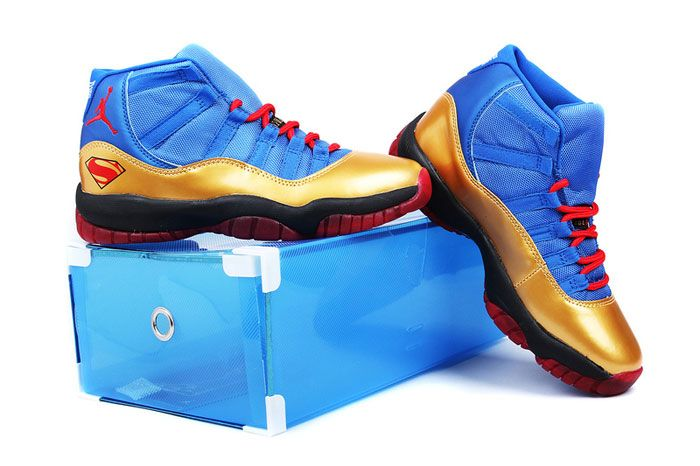 8b078a1d7cb Nike Superman Air Jordan 11 Shoes 2013 Men Superman Printed Blue Gold Red