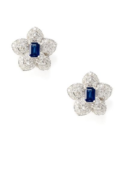 Piranesi  Sapphire & Diamond Flower Earrings