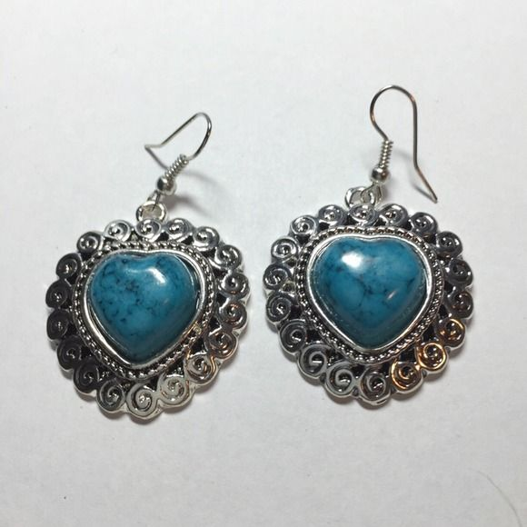 Blue and silver heart earrings Blue and silver heart earrings Jewelry Earrings