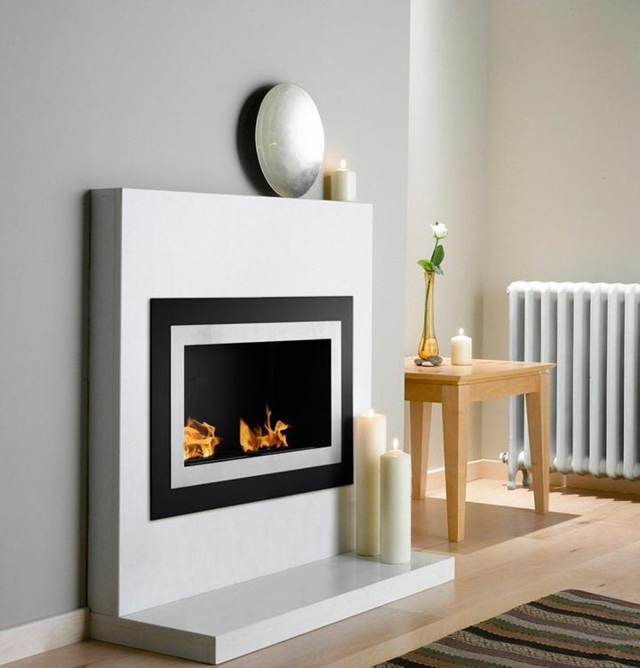 grey wall fireplace - Google Search