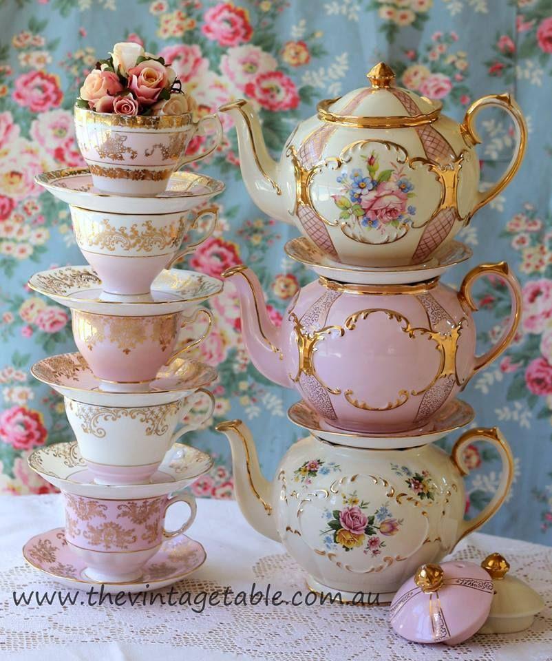 Vintage China Crockery And Tea Set Hire Perth The Vintage Table Tea Cups Tea Pots Vintage Tea