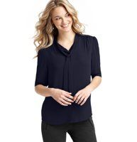 Tie Neck 3/4 Sleeve Blouse - A tie neckline adds feminine charm to this flowy must-have. 3/4 sleeves. Button front with covered placket. Single button cuffs. Gathered at shoulder seams and back yoke. �