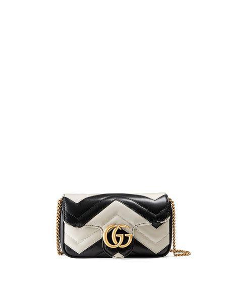 ef0653a5d6ff GUCCI Gg Marmont Matelassé Leather Super Mini Bag, Black/White. #gucci  #bags #shoulder bags #leather #