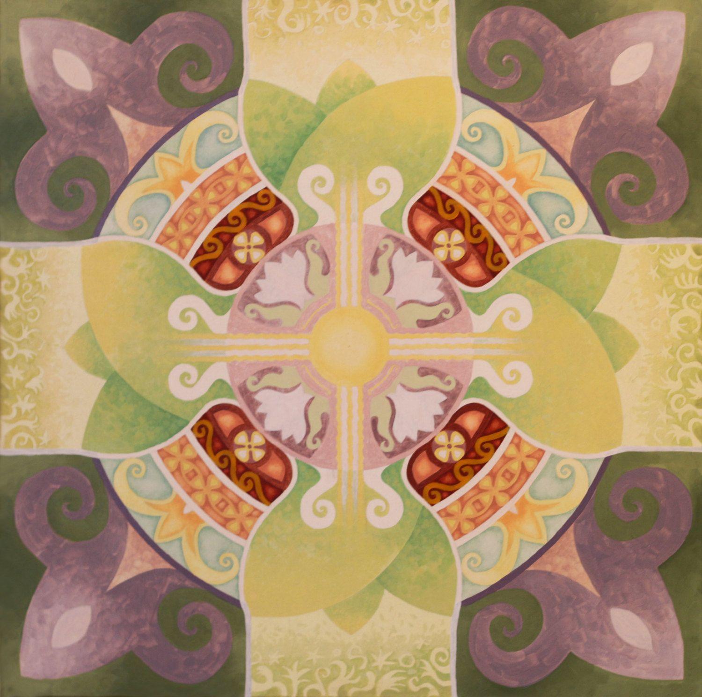 The Awakening - mandala large acrylic paint canvas original painting ...