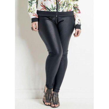 d1a8b08a8 Calça Legging Plus Size Preta Efeito Brilhante Quintess | Moda Plus ...