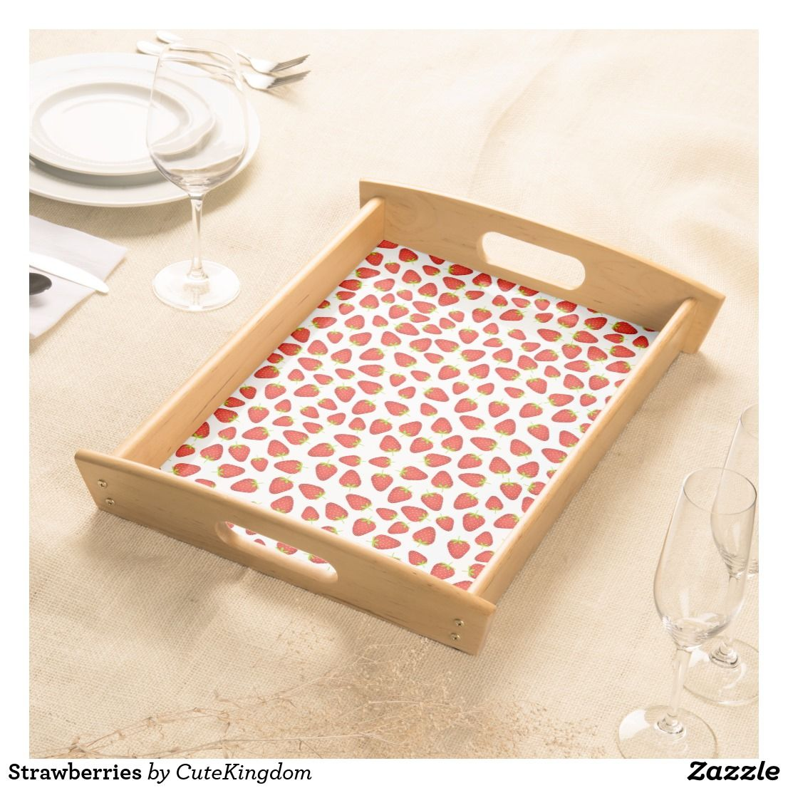 Strawberries Serving Tray Zazzle.co.uk Serving tray
